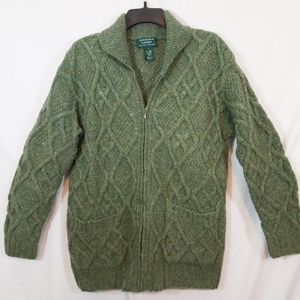 Ralph Lauren chunky wool zip frnt cardigan sweater